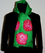 Green Silk Scarf with Big Roses