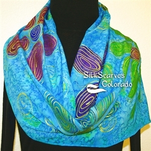 Turquoise, Green, Purple Silk Scarf Handpainted EXOTIC DAISIES. Size 11x60. Birthday Gift, Bridesmaid Gift, Christmas Gift.