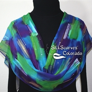 Purple, Green, Blue Silk Scarf Handpainted PURPLE FIELDS. Size 11x60. Birthday Gift, Bridesmaid Gift, Christmas Gift.