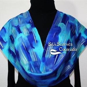 Blue, Turquoise Hand Painted Silk Shawl RAINY DAY. Size 11x60. Birthday Gift, Anniversary Gift, Christmas Gift.
