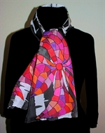 Black and White Silk Scarf with Big Red Mosaic Flowers