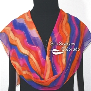 Orange, Purple, Pink Hand Painted Chiffon Silk Scarf SUNSET WATERS. Size 11x60. Birthday Gift, Bridesmaid Gift, Christmas Gift.
