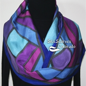 Blue, Purple Hand Painted Silk Scarf Handmade FIJI SUNSETS. Size 11x60. Birthday Gift, Bridesmaid Gift, Christmas Gift.