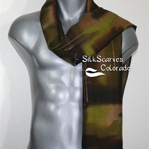 Unisex Silk Scarf, Men, Women. Green Brown Handmade Silk-Wool Shawl CITY HUNTER. Large 14x68. Warm Silk-Wool Scarf. Anniversary Gift. Birthday Gift, C