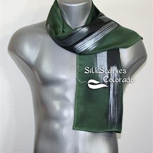 Unisex Silk Scarf, Men, Women. Green, Silver Handmade Silk Scarf GREEN PASSION. Size 11x60. Anniversary Gift. Birthday Gift, Christmas Gift.