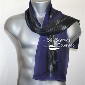 Unisex Silk Scarf, Men, Women. Aubergine Purple, Black, Silver Handpainted Silk Scarf NIGHT LIFE. Size 8x54. Anniversary Gift. Birthday Gift