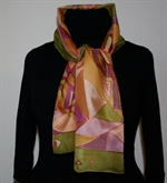 Silk Scarf with Triangles in Hues of Beige, Green, Brown and Purple