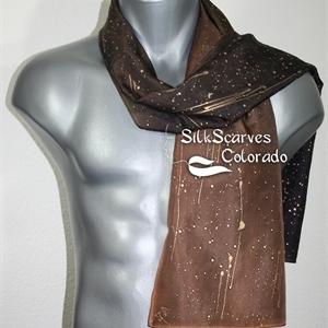 Unisex Silk Scarf, Men, Women. Brown Handmade Silk Scarf CHOCOLATE STARS. Size 11x60. Anniversary Gift. Birthday Gift, Christmas Gift.