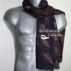 Unisex Silk Scarf, Men, Women. Plum, Bronze Handmade Silk Scarf WINE TASTING. Size 11x60. Anniversary Gift. Birthday Gift, Christmas Gift.