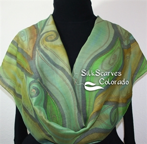 Hand Painted Silk-Wool Scarf. Sage Green, Terracotta Handmade Silk-Wool Scarf COLORADO SONG Size. Large 14x70. Birthday Gift. Anniversary Gift.