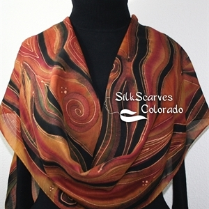 Hand Painted Silk Wool Scarf. Burgundy, Brown, Black Warm Silk-Wool Scarf NOVEMBER MOODS-2. Large 14x68. Birthday Gift. Christmas Gift.