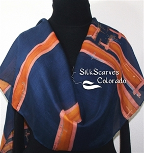 Hand Painted Silk Wool Scarf. Navy Blue, Terracotta Warm Silk-Wool Shawl CASABLANCA SEASIDE. Large 14x68. Birthday Gift. Christmas Gift.