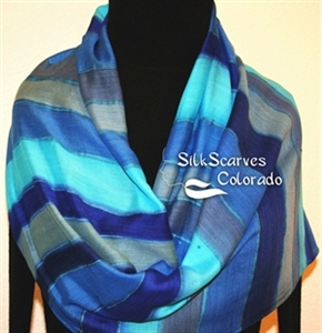 Hand Painted Silk Wool Scarf. Blue, Turquoise, Grey Handpainted Silk-Wool Scarf MOON PATH. Large 14x68. Silk Scarves Colorado. Birthday Gift.