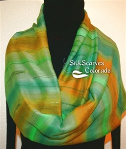 Hand Painted Silk Wool Scarf. Green, Terracotta Handmade Silk-Wool Scarf MOUNTAIN FIELDS. Silk Scarves Colorado. Large 14x68. Birthday Gift.