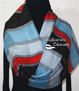 Hand Painted Silk Wool Scarf. Gray, Black, Red Warm Hand Painted Silk-Wool Scarf CLOUDY MORNING. Silk Scarves Colorado. Large 14x68. Birthday Gift.