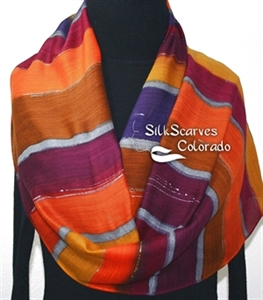 Hand Painted Silk Wool Scarf. Burgundy, Brown, Orange Warm Silk-Wool Scarf WINTER SASSY. Silk Scarves Colorado. Large 14x68. Birthday Gift.