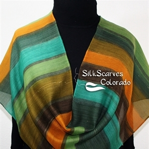 Hand Painted Silk Wool Scarf. Green, Brown, Orange Warm Silk-Wool Scarf GREEN PARTY. Silk Scarves Colorado. Silk Scarves Colorado. Large 14x68. Birthd