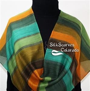 Hand Painted Silk Wool Scarf. Green, Brown, Orange Warm Silk-Wool Scarf GREEN PARTY. Silk Scarves Colorado. Silk Scarves Colorado. Large 14x68. Birthd