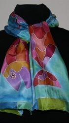 Three Fish Blue-and-Turquoise Silk Scarf