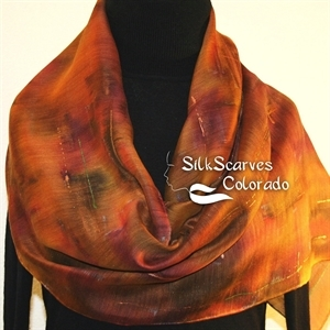 Hand Painted Silk Wool Scarf. Green, Brown, Terracotta Warm Silk-Wool Scarf PRAIRIE RIDE. Silk Scarves Colorado. Large 14x68. Birthday Gift.