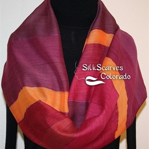 Hand Painted Silk Wool Scarf. Burgundy, Purple, Orange Warm Silk-Wool Shawl BURGUNDY EMBRACE. Silk Scarves Colorado. Large 14x68. Birthday Gift.