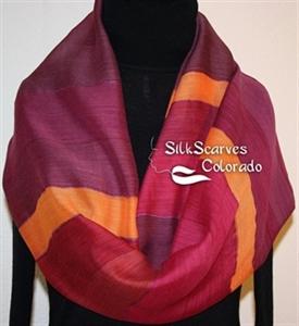 Hand Painted Silk Wool Scarf. Burgundy, Purple, Orange Warm Silk-Wool Shawl BURGUNDY EMBRACE. Silk Scarves Colorado. Large 14x68. Birthday Gift.