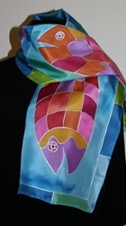 Three Fish Blue-and-Turquoise Silk Scarf - photo 2