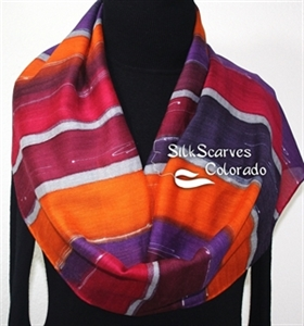 Hand Painted Silk Wool Scarf. Burgundy, Purple, Orange Handmade Silk-Wool Scarf BOSTON SUNRISE. Silk Scarves Colorado. Large 14x68. Birthday Gift.