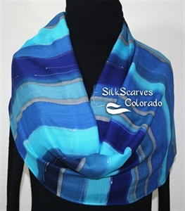 Hand Painted Silk Wool Scarf. Blue, Turquoise, Navy Handmade Silk-Wool Scarf COLD MOUNTAIN. Silk Scarves Colorado. Large 14x68. Birthday Gift.