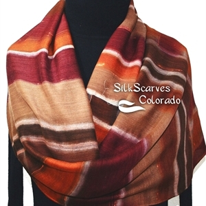 Hand Painted Silk Wool Scarf. Burgundy, Brown, Terracotta Warm Silk-Wool Scarf FALL HARVEST. Silk Scarves Colorado. Large 14x68. Birthday Gift.