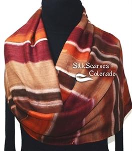 Hand Painted Silk Wool Scarf. Burgundy, Brown, Terracotta Warm Silk-Wool Scarf FALL HARVEST. Silk Scarves Colorado. Large 14x68. Birthday Gift.