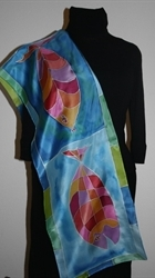 Three Fish Blue-and-Turquoise Silk Scarf - photo 4