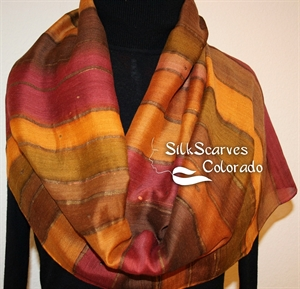Hand Painted Silk Wool Scarf. Terracotta, Brown Warm Silk-Wool Scarf ADOBE STRIPES. Silk Scarves Colorado. Large 14x68. Birthday Gift.