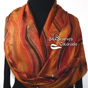 Hand Painted Silk Wool Scarf. Burgundy, Brown, Chocolate Warm Silk-Wool Scarf NOVEMBER MOODS. Silk Scarves Colorado. Large 14x68. Birthday Gift.