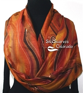 Hand Painted Silk Wool Scarf. Burgundy, Brown, Chocolate Warm Silk-Wool Scarf NOVEMBER MOODS. Silk Scarves Colorado. Large 14x68. Birthday Gift.