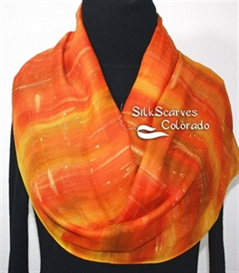 Hand Painted Silk Wool Scarf. Orange, Yellow Warm Silk-Wool Scarf SUNSHINY DAY. Silk Scarves Colorado. Large 14x68. Birthday Gift.