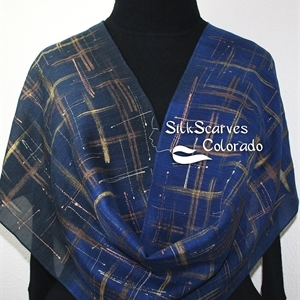 Hand Painted Silk Wool Scarf. Blue, Navy, Bronze Warm Silk-Wool Scarf LIGHTS IN RAIN. Silk Scarves Colorado. Large 14x68. Birthday Gift.