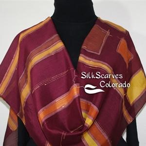 Hand Painted Silk Wool Scarf. Brown, Burgundy Handmade Silk-Wool Scarf NEW ORLEANS. Silk Scarves Colorado. Large 14x68. Birthday Gift.