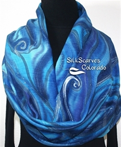 Hand Painted Silk Wool Scarf. Blue, Turquoise Warm Silk-Wool Scarf NIGHT SEA. Silk Scarves Colorado. Large 14x68. Birthday Gift.