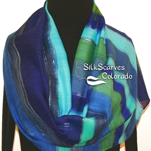 Hand Painted Silk Wool Scarf. Blue, Green, Navy Warm Silk Wool Shawl ATLANTIC BLUES. Silk Scarves Colorado. Large 14x68. Birthday Gift.