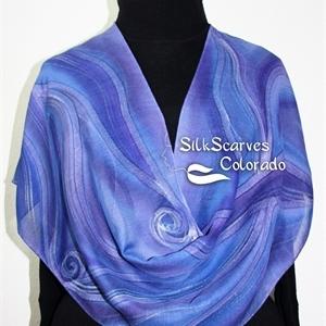 Hand Painted Silk Wool Scarf. Purple, Lavender Warm Silk-Wool Shawl PURPLE WARMTH. Silk Scarves Colorado. Large 14x68. Birthday Gift.