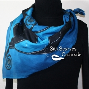 Hand Painted Silk Scarf. Blue, Black Handpainted Square Silk Shawl NIGHT WINDS. Silk Scarves Colorado. Size Large 30x30 square. Birthday Gift.