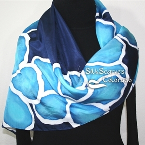 Hand Painted Silk Scarf, Turquoise, Navy Blue Hannd Dyed Silk Scarf TURQUOISE FLOWERS. Silk Scarves Colorado. Extra-Large 35x35 square. Birthday Gift.