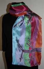 Silk Scarf in Orange, Burgundy and Violet with Trees