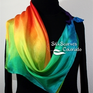 Silk Scarf Hand Painted. Red, Yellow, Green, Blue Handpainted Silk Shawl SUMMER FLAMES. Silk Scarves Colorado. Extra-Large Square 35x35. Wedding Gift.