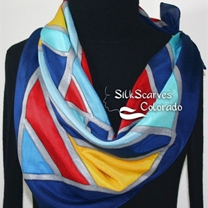 Hand Painted Silk Scarf. Blue, Red, Yellow Handpainted Silk Shawl PARISIAN MOSAICS. Silk Scarves Colorado. Extra-Large 35x35 square. Holidays Gift.