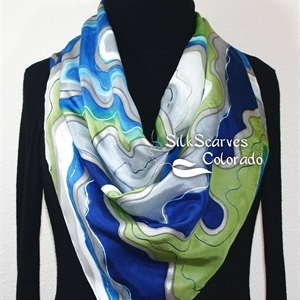 Hand Painted Silk Scarf. Olive, Navy Blue, Turquoise, White Handmade Silk Scarf DENIM CHIC. Silk Scarves Colorado. Extra-Large 35x35 square. Holidays