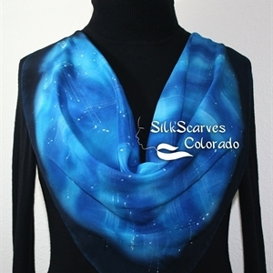 Hand Painted Silk Scarf. Blue, Turquoise, Navy Handmade Silk Scarf ICY LAKE. Silk Scarves Colorado. Medium Size 25x25 square.