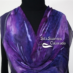 Handmade Silk Scarf. Purple, Lavender Hand Painted Chiffon Silk Scarf PURPLE RAIN. Silk Scarves Colorado. Extra-Large 35x35 square. Anniversary Gift