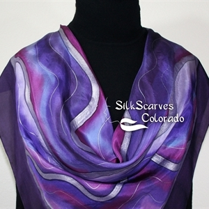 Handpainted Silk Scarf. Purple, Lavender Hand Painted Silk Scarf PURPLE MOUNTAIN. Silk Scarves Colorado. Extra-Large 35x35 square. Anniversary Gift